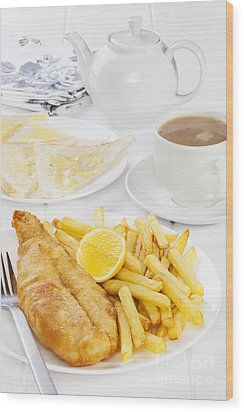 Fish And Chips Supper Wood Print by Colin and Linda McKie