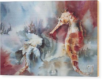 Fish And Sea Horse Wood Print