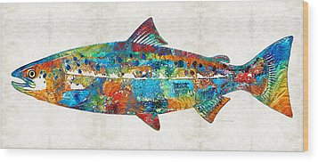 Fish Art Print - Colorful Salmon - By Sharon Cummings Wood Print by Sharon Cummings