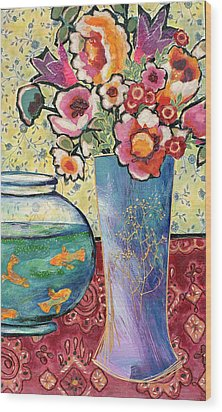 Fish Bowl And Posies Wood Print by Diane Fine