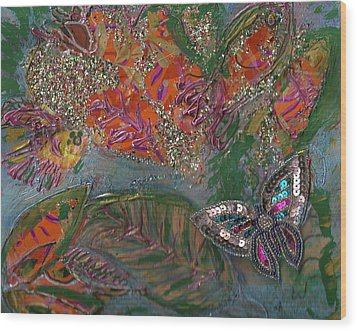 Fish Dream Of Flying Butterfly Dreams Of Swimming Wood Print by Anne-Elizabeth Whiteway