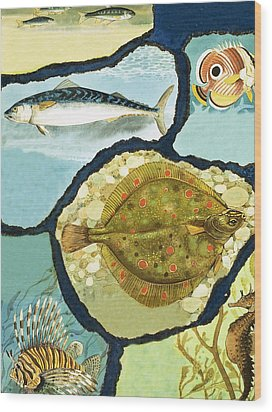 Fish Wood Print by English School