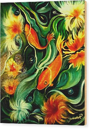 Wood Print featuring the painting Fish Explosion by Yolanda Rodriguez