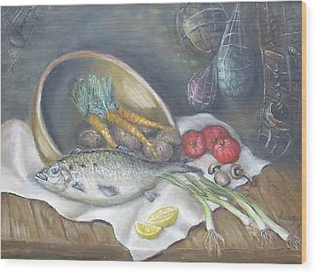 Fish For Dinner Wood Print