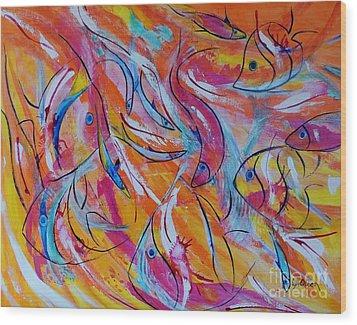 Fish Frenzy Wood Print by Lyn Olsen