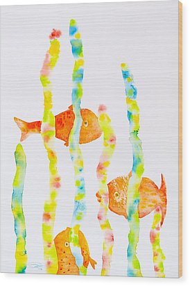 Wood Print featuring the painting Fish Fun by Michele Myers