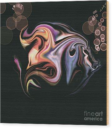 Wood Print featuring the digital art Fish by Gabrielle Schertz