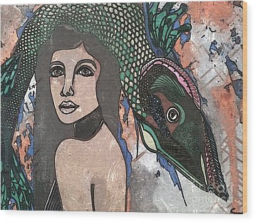Fish Head Woman Wood Print by Amy Sorrell