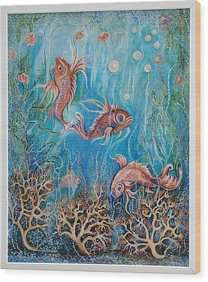 Wood Print featuring the painting Fish In A Pond by Yolanda Rodriguez