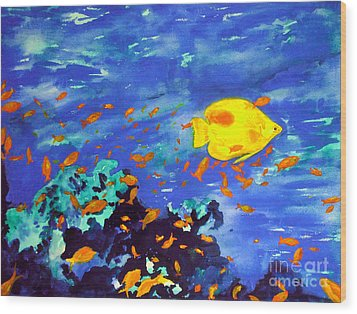 Wood Print featuring the painting Fish In The Sea by Mukta Gupta