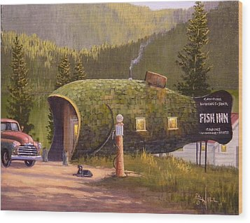 Fish Inn Wood Print