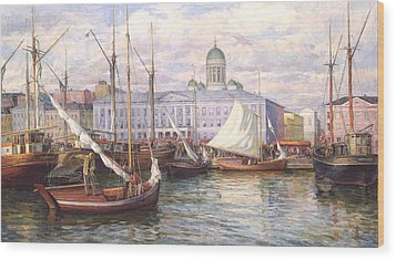 Fish Market In Helsinki Wood Print