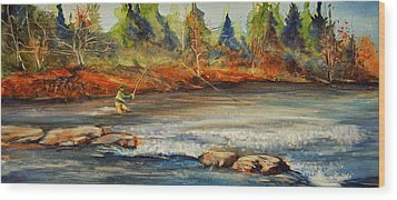 Wood Print featuring the painting Fish On 2 by Jani Freimann
