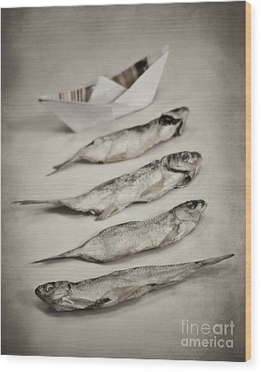 Fish Out Of Water Wood Print by Diana Kraleva