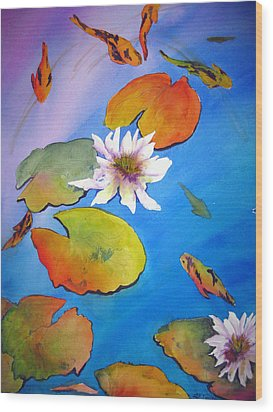 Wood Print featuring the painting Fish Pond I by Lil Taylor