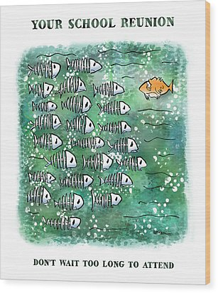 Fish School Reunion Wood Print by Mark Armstrong