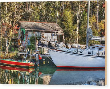 Fish Shack And Invictus Original Wood Print by Michael Thomas
