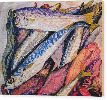 fish squid California painting Wood Print