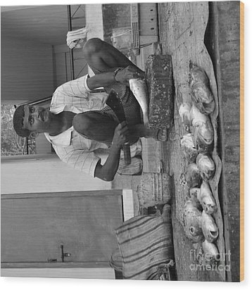Fish Stall  Wood Print by Bobby Mandal
