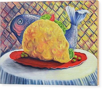 Fish Taco Wood Print by Randy Burns