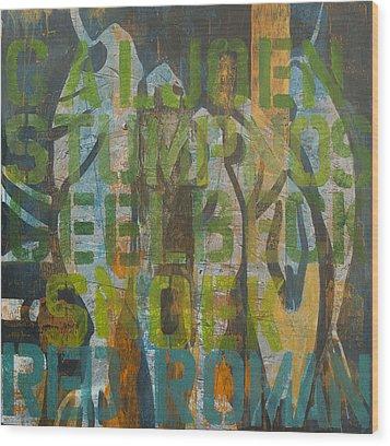 Fish Tales Green Wood Print