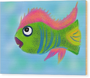 Wood Print featuring the digital art Fish Wish by Christine Fournier
