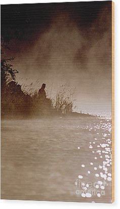 Fisher In The Mist Wood Print