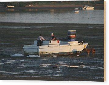 Fishermen And Dog Wood Print