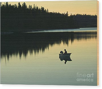 Fisherman At Dusk Wood Print by Nancy Harrison