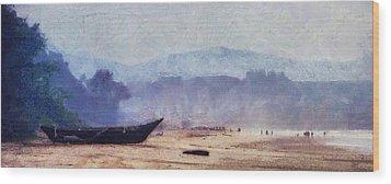 Fisherman Boat On The Goan Coast. India Wood Print by Jenny Rainbow