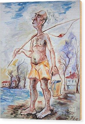Fisherman Wood Print by Milen Litchkov