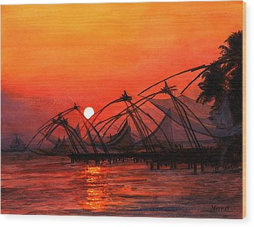 Fisherman Sunset In Kerala-india Wood Print by Vidyut Singhal
