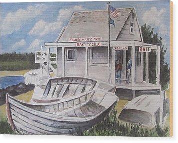 Fishermans Cove  Wood Print by Melinda Saminski