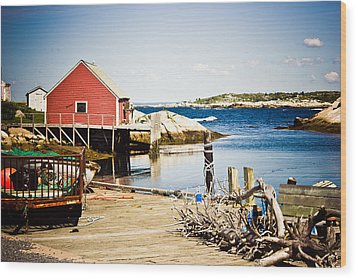 Wood Print featuring the photograph Fisherman's Cove by Sara Frank