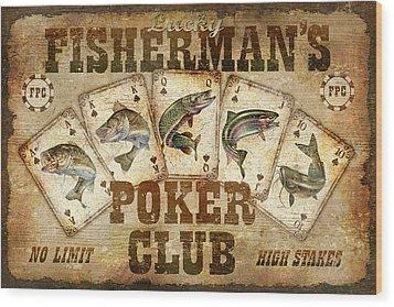 Fishermans Poker Club Wood Print by JQ Licensing