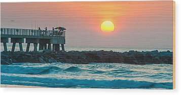Fisherman's Sunrise Wood Print by Cliff C Morris Jr