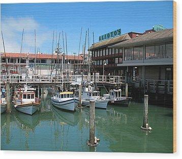 Fishermans Wharf Wood Print by Connie Fox