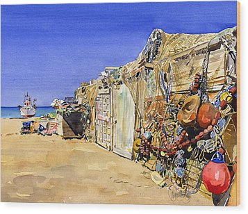 Fishermen's Huts At San Miguel Wood Print by Margaret Merry