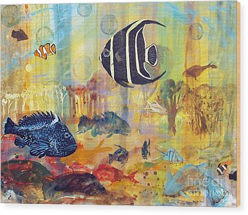 Fishes Wood Print by Robin Maria Pedrero