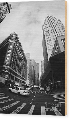 Fisheye Shot Of Yellow Cab On Intersection Of Broadway And 35th Street At Herald Square New York Wood Print by Joe Fox
