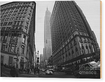 fisheye shot View of the empire state building from West 34th Street and Broadway junction Wood Print by Joe Fox