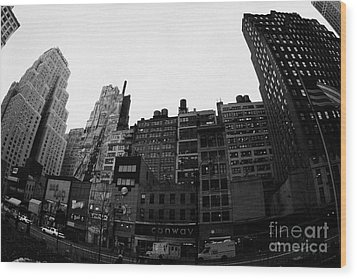 Fisheye View Of 34th Street From 1 Penn Plaza New York City Usa Wood Print by Joe Fox