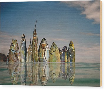 Fishhattan Wood Print by Juan  Bosco