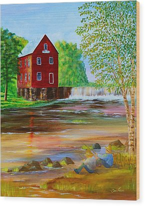 Fishin' At The Old Mill Wood Print by Chris Fraser