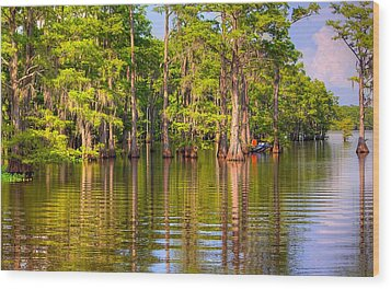 Fishing At The Bayou Wood Print by Ester  Rogers