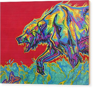 Fishing Bear Wood Print by Derrick Higgins