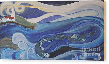 Fishing Before A Storm Wood Print by Teresa Hutto