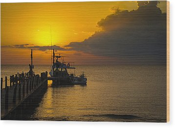 Fishing Boat At Sunset Wood Print by Phil Abrams