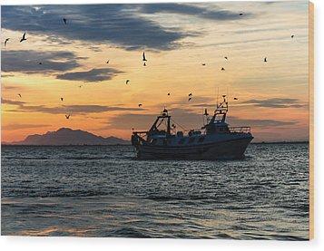 Fishing Boat At Sunset Wood Print
