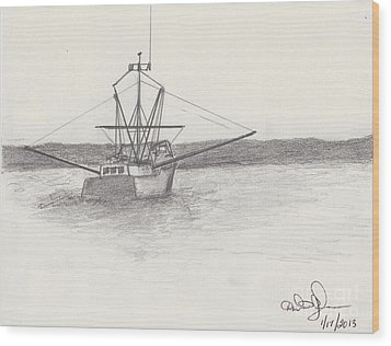 Wood Print featuring the drawing Fishing Boat by David Jackson